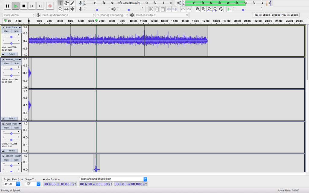 Screenshot of podcast project in Audacity